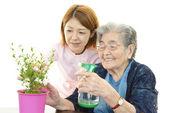 Přátelské sestra pečuje o starší žena