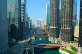 Vista diurna del fiume chicago, visto dallalto