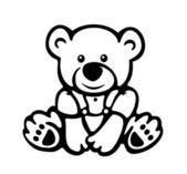 Vector of cute baby bear silhouette