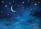 Vector night sky background stars and moon