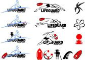 Various logos of lifeguard theme