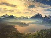 Ranní mlha na jezeře klidu
