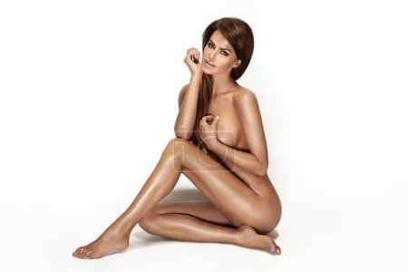 Picture of healthy naked beautiful woman over white