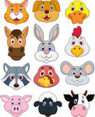 Illustranion of animal head cartoon collection isoleted on white