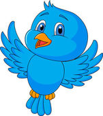 Blue bird cartoon isolated on white