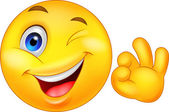 Smiley emoticon with ok sign