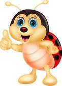 Illustration of Cute ladybug cartoon thumb up
