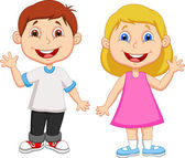 Cute children waving hand