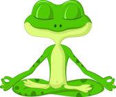 Frog cartoon doing yoga isolated on white background