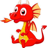 Cute baby dragon cartoon isolated on white background