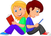 Boy and girl reading book on white background