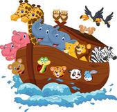 Noah's Ark cartoon on white background