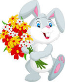 Cute little rabbit holding a bouquetillustration on white background