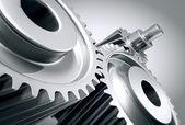 Close up of machine gears.