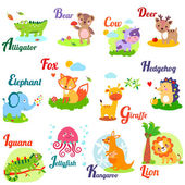 Cute animal alphabet for ABC book Vector illustration of cartoon animals Ab c d e f g h i j k l