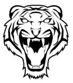 Black and white vector illustration of tiger