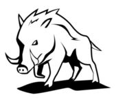 Black and white vector illustration of wild boar
