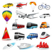 Vector icon set: Isolated Air and Ground Transport Colorful cartoon symbols on white background (collection)