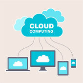 Cloud computing concept design Devices connected to the
