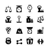 Webové ikony set - váhy, vážení, hmotnost, vyvážení