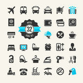 Hotel services - travel icons collection for web