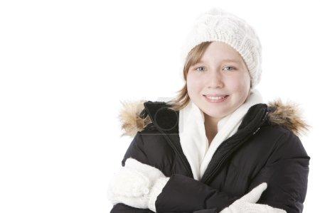微笑捆绑,冬天天气的白人小女孩