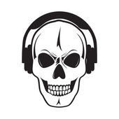 Jolly skull with headphones Isolated objectŒ