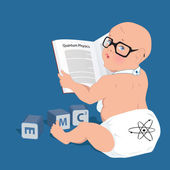 Funny baby in a diaper and geeky glasses reading a book on quantum physics alphabet cubes with energy formula lying around