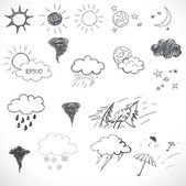 Weather icons set Hand drawn sketch illustration isolated on white background