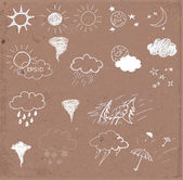 Weather icons set Hand drawn sketch illustration on brown paper Vector illustration