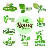 Hat zöld öko ikonok gyűjteménye