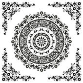 Oriental ornament in black and white circular