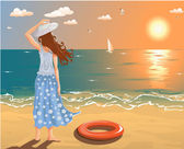 Vector image of a girl at the beach looking on sunset
