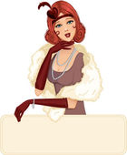 Vector image of a beautiful woman in retro style with place for a text EPS10 contains transparency in eyes and shadows