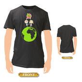 Děti na zelené planetě uvnitř černou košili. Vektorová design