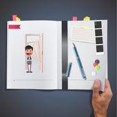 Businessman with door printed on book