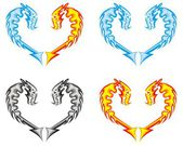 Water fire and ashes - four symbols of a dragon in the form of heart