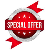 Round special offer button with ribbon