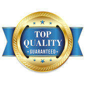 Blue gold top quality badge with ribbon