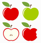Apples Set of red green bitten and half of fruit with leaf Vector illustration