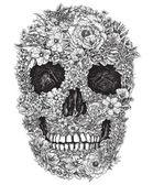 Vettore di disegno al tratto cranio fiore