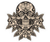Skull and roses sketch vector