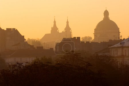 Постер, плакат: Cathedrals and roofs at sunrise, холст на подрамнике