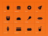 Fast food icons on orange background Vector illustration