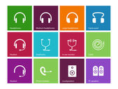 Headphones and speakers icons on color background Vector illustration