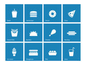 Fast food icons on blue background Vector illustration