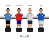 Calcio balilla, giocatori di calcio. gruppo d - uruguay, costa rica, Inghilterra, Italia. illustrazione vettoriale