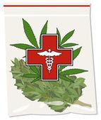 Medical marijuana bud in bag illustration vector