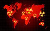 Světová mapa jaderného odpadu nebezpečí radioaktivní zóna