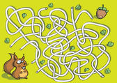 Squirrel Maze Game for children Hand drawn illustration in eps10 vector mode Task: find the right way to nut!